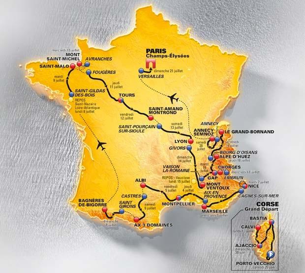 2013 Tour de France map