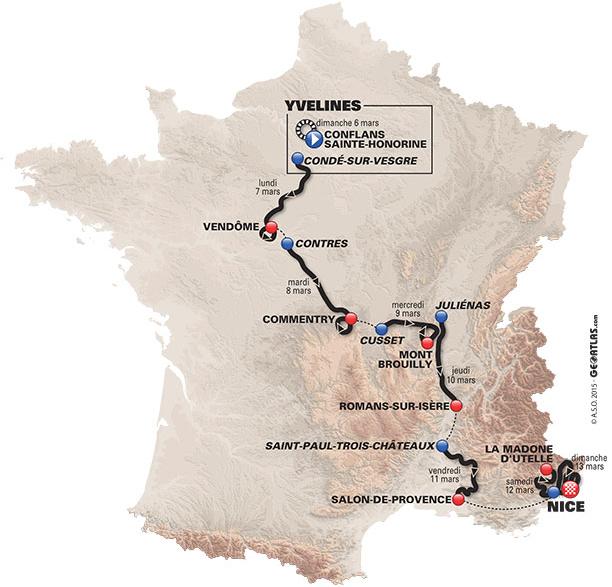 Paris Nice 2016 map