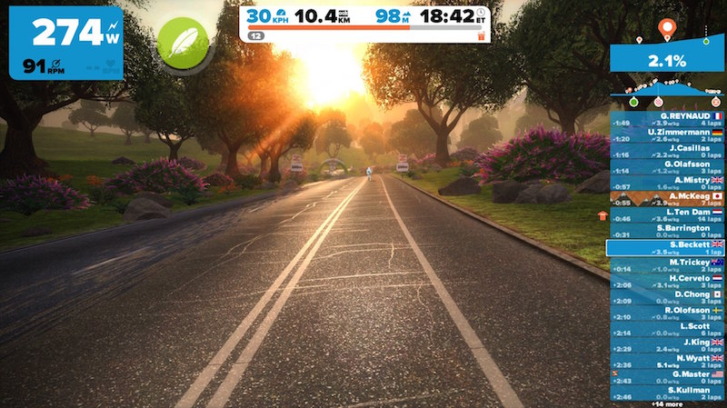 Zwift sample screen