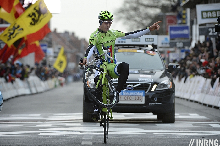 Peter Sagan Wheelie wevelgem victory celebration