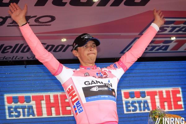 Ramunas Navardauskas Giro Pink Jersey Podium