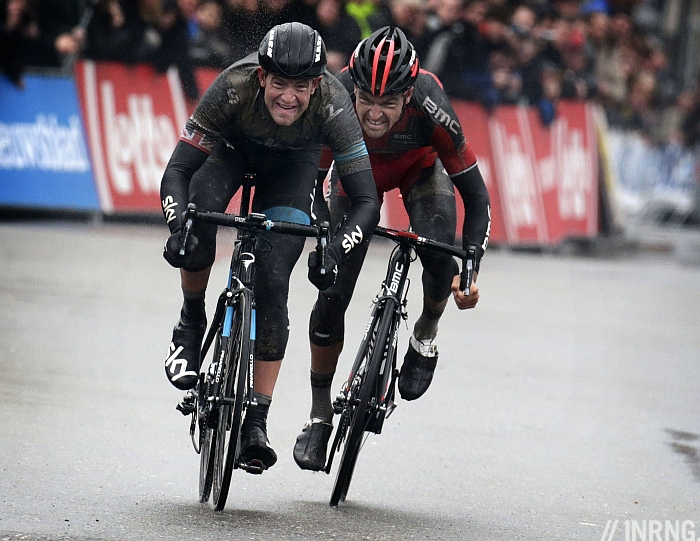 Photo: the outcome that wasn't certain until Stannard's cheeks puffed in relief as he beat Van Avermaet by a wheel....