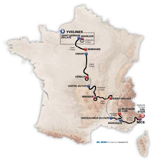 Paris Nice 2013 route