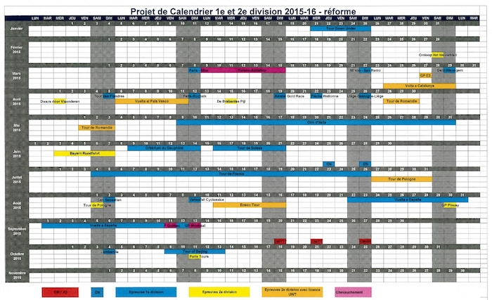 Professional Cycling Calendar