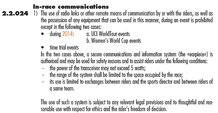 UCI Race Radios